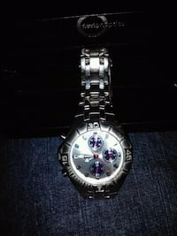round silver chronograph watch with link bracelet El Paso, 79924