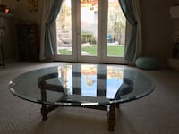 Round glass, wood base table Las Vegas, 89129