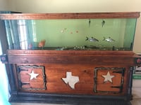 Brown wooden highstrip clear glass fish tank Fort Worth, 76123