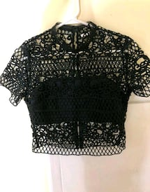 Express Black Crocheted Crop Top New With Tags