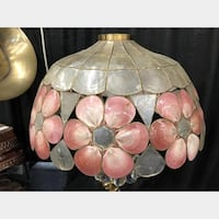 white and pink floral Tiffany-style table lamp
