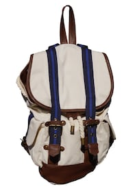 white, blue, and brown leather bucket bag Baltimore