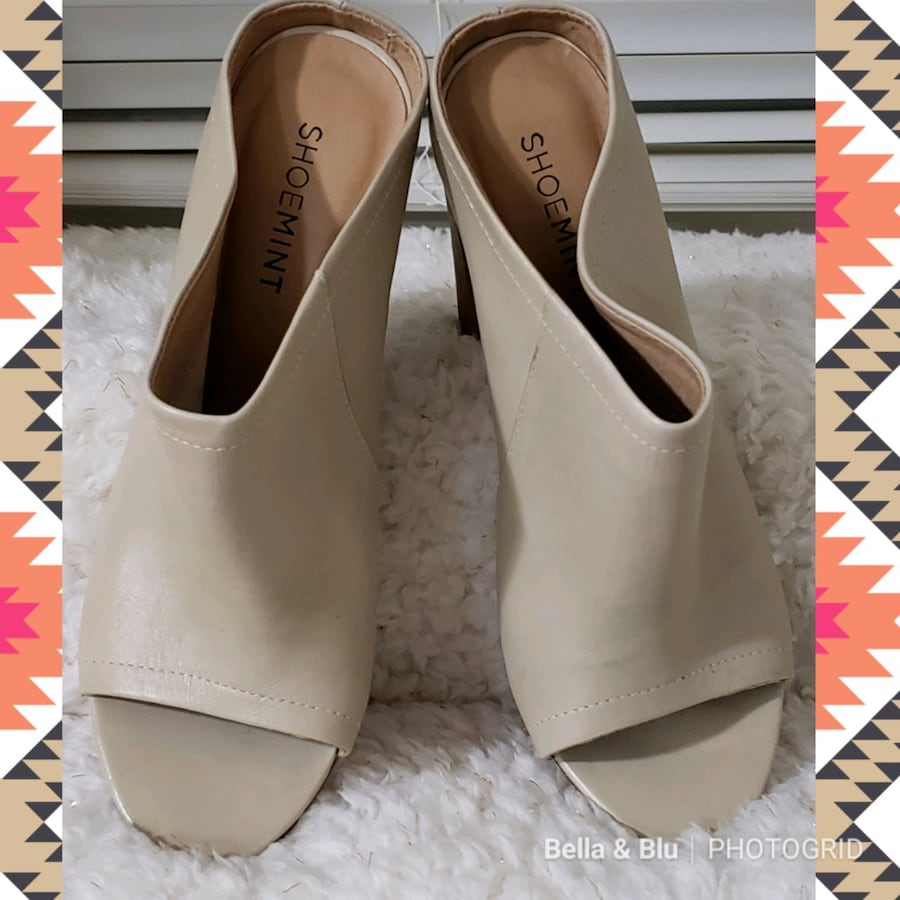 Shoemint Miller Leather Peep-Toe Dress Mules c0b41882-6c78-48a5-a40f-53b27385149a