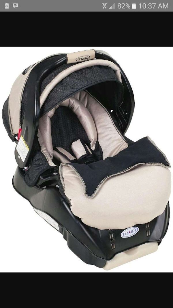 White And Beige Graco Car Seat Carrier