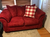 Red fabric love seat