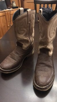 pair of brown leather cowboy boots London