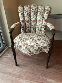 brown wooden framed white and green floral padded armchair MONTREAL