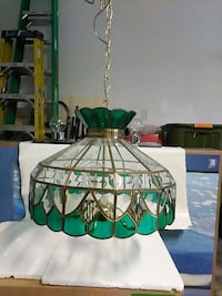 green and gold tinted glass cover uplight chandelier The Villages, 32159