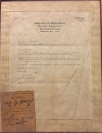 President Ford Signed Letter While Congressman Pittsburgh