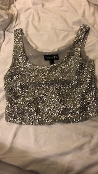 Forever21 silver sequin tank size small Vancouver, V6B