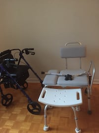 Gray transfer bench, shower chair, and rollator