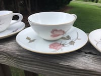 From 1950s Sango tea Set in beautiful pink roses and gold trim, Nancy pattern. Include 8 teacups, 7 saucers, sugar bowl with lid and creamer. In excellent condition. 258 mi