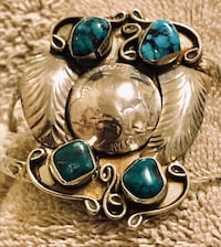 Old pawn Sterling Silver and Turquoise Navajo Bracelet Frederick, 21701