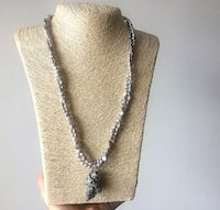 silver-colored link necklace with gray pendant