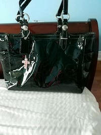 black and white leather tote bag Markham, L6G