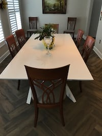 rectangular brown wooden table with six chairs dining set Largo, 33770