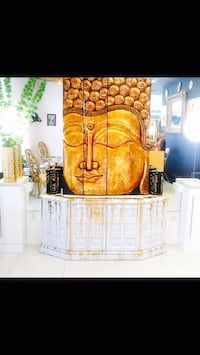 Hand carved teak buddha screen 4'11 height 3'8 length can be used indoor or outdoors
