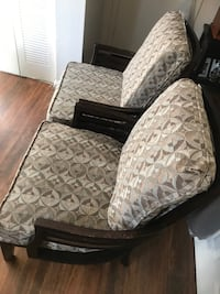 brown and white floral fabric sofa chair Centreville, 20120