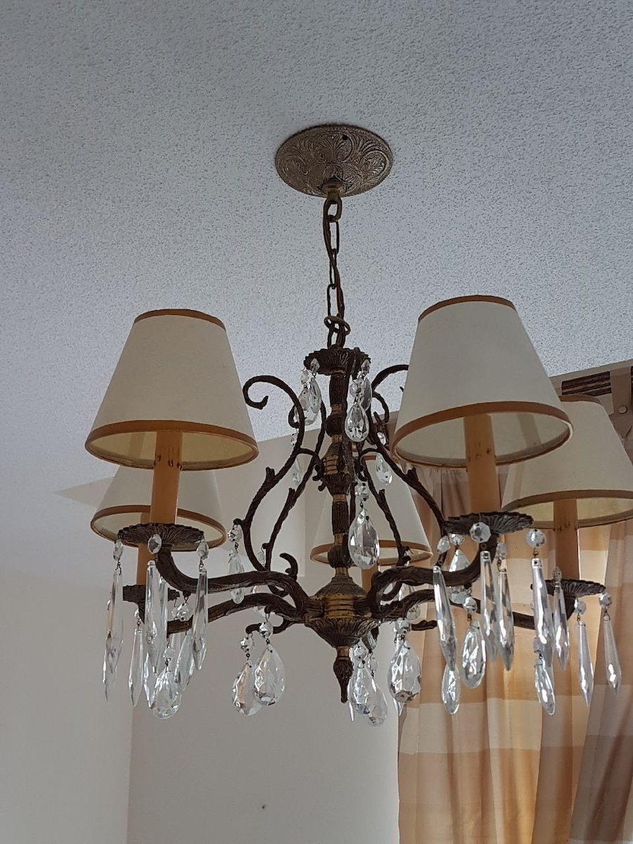 brown, beige and white chandelier