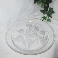 "Large Round Glass Serving Platter Frosted Tulips 13 3/4"" Mississauga"