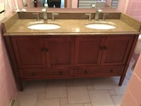 brown marble top double bowl cabinet sink with brown wooden base