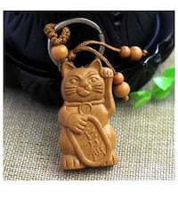 Wooden Carved Lucky Fortune Waving Cat Keychain   Modesto, 95350