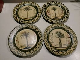 (NEW)4pc heavy palm tree plates.