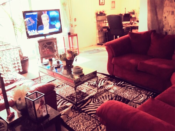 Whole apt w furniture Red couch Tv Fireplace loveseat tables 9f95ce8c-8f63-402f-aef2-4d6cc38c0cf4