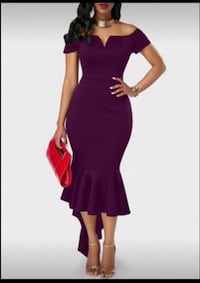 BRAND NEW- Purple Split Neck Peplum Hem dress Brookhaven, 11789