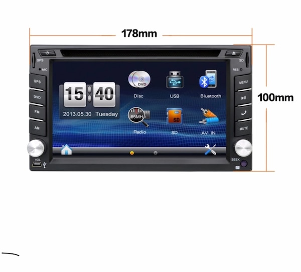 Black 2-din car stereo head unit