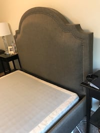 Grey pottery barn Queen bed frame