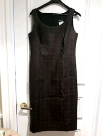 *LOWERED: SIZE 10 OCCASION DRESS IN BLACK & BURGUNDY PRINT Toronto, M6B 2A2