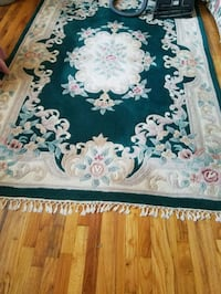 Green and white floral area rug Queens, 11432