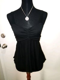 Black Sleeveless Top with Mesh Sash by CHINESE LAUNDRY