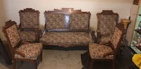 Antique floral sofa  with rocker and chairs