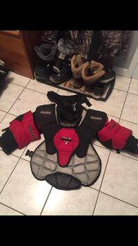 Red and black upper body pads