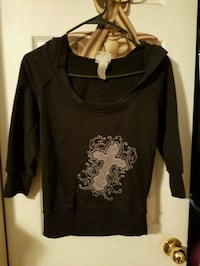 Black pullover hoodie with cross size small