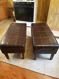 Two brown benches