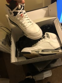 pair of white Air Jordan 5's with box Decatur, 30034