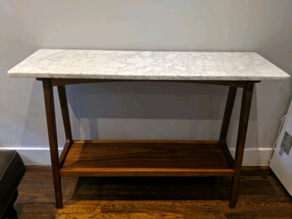 quality design 664aa 66810 West Elm Reeve Mid-Century Console, Marble/Pecan