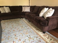 Brown stain resistant fabric sectional sofa 6 km