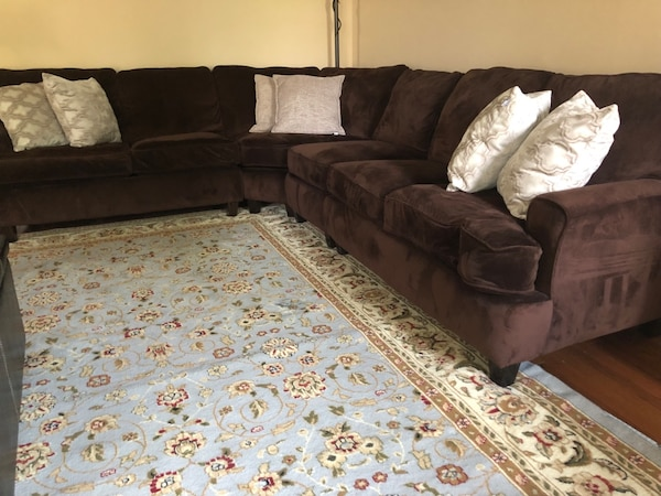 Brown stain resistant fabric sectional sofa