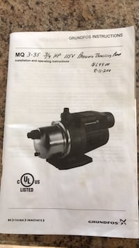 Grundfos Water Pump with Pressure Reducer Included 377 mi
