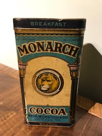 ANTIQUE 1920's MONARCH COCOA TIN CAN Lion chocolate kitchen deco null, K0A 3H0