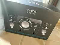 black Arion Legacy AR306 2.1 speaker system with subwoofer box