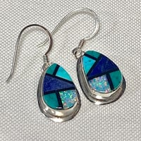 Navajo Mosaic Sterling Silver Lapis Lazuli Turquoise Opal Onyx Earnings Ashburn