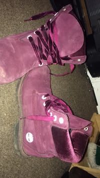 Pair of purple timberland suede limited release boots Welland