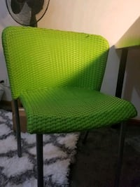 Table chair and clip on lamp