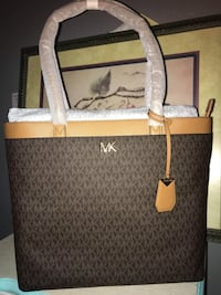 brown and gray Michael Kors leather tote bag Los Altos, 94022