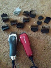 Designer red and black hair clippers